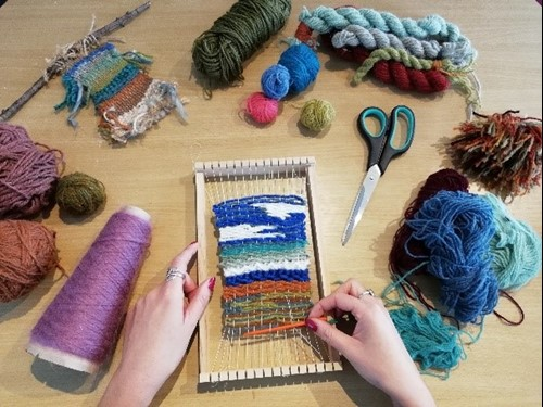 Wool being knitted, arts and crafts