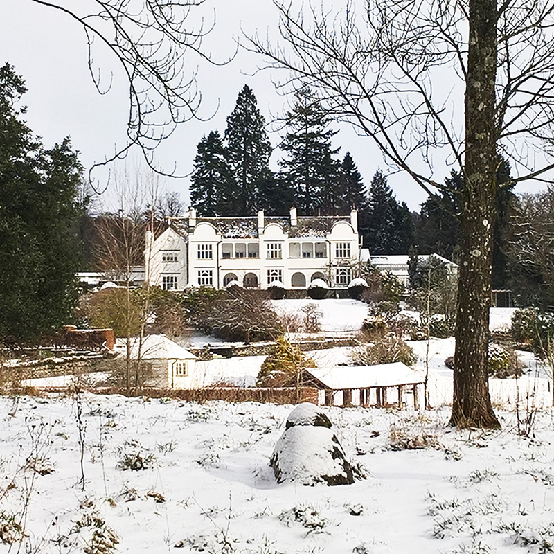 The Brockhole house in snow